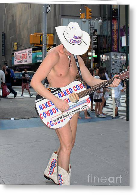 Playing Cards Greeting Cards - Times Square Naked Cowboy Greeting Card by John Telfer
