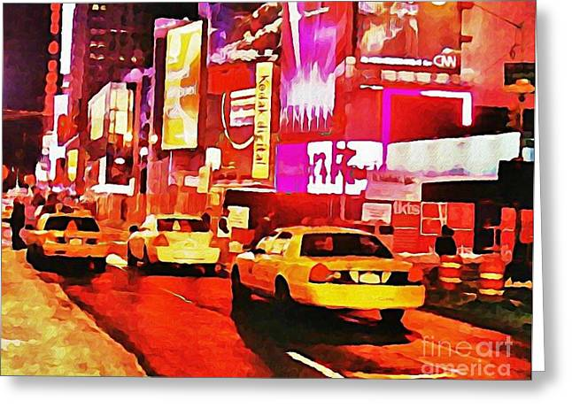 John Malone Artist Greeting Cards - Times Square near Broadway Greeting Card by Halifax artist John Malone