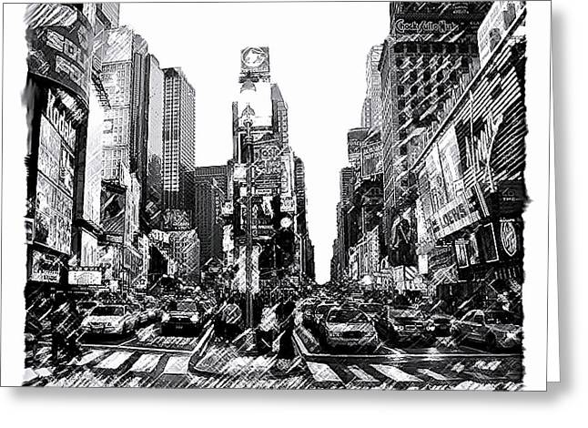 Cities Drawings Greeting Cards - Times Square   New York City Greeting Card by Iconic Images Art Gallery David Pucciarelli