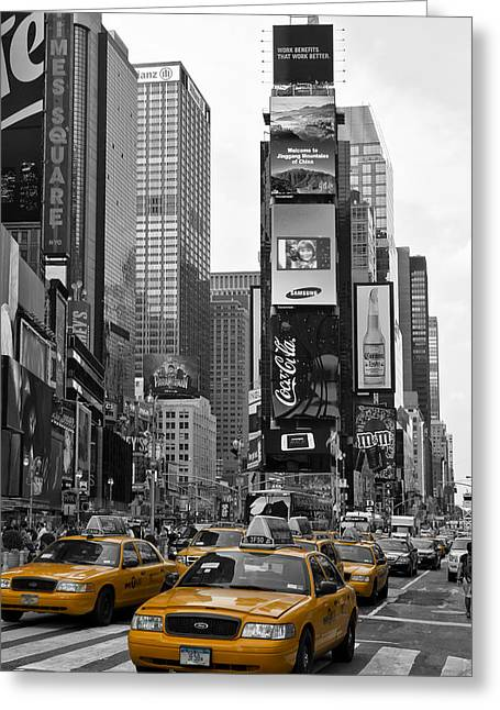 Yellows Greeting Cards - Times Square NYC Greeting Card by Melanie Viola