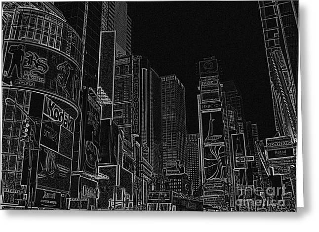 Times Square NYC white on black Greeting Card by Meandering Photography