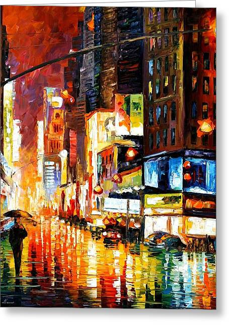 Recently Sold -  - Popular Art Greeting Cards - Times Square - PALETTE KNIFE Oil Painting On Canvas By Leonid Afremov Greeting Card by Leonid Afremov