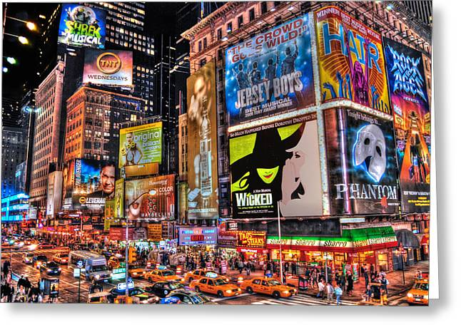 New York Night Greeting Cards - Times Square Greeting Card by Randy Aveille