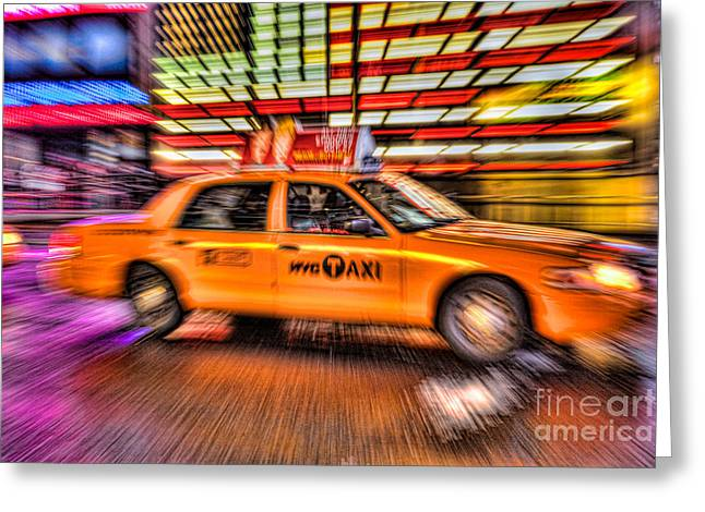 Fast Taxi Greeting Cards - Times Square Taxi IV Greeting Card by Clarence Holmes