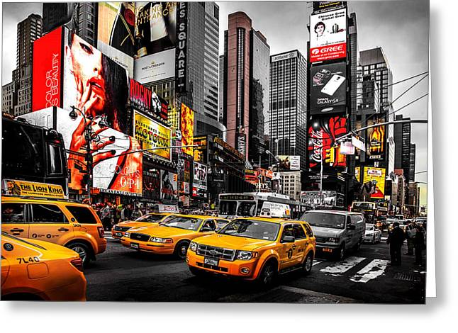 Skyline Greeting Cards - Times Square Taxis Greeting Card by Az Jackson