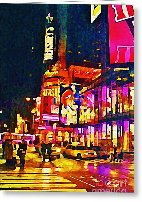 John Malone Artist Greeting Cards - Times Square Two Greeting Card by John Malone