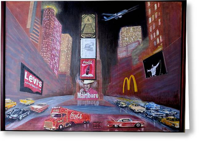 Manhatan Paintings Greeting Cards - Times Square Ultimate Greeting Card by Daniel Gomez