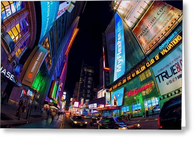 Industrial Icon Paintings Greeting Cards - Times Square urban night scene  Greeting Card by Lanjee Chee
