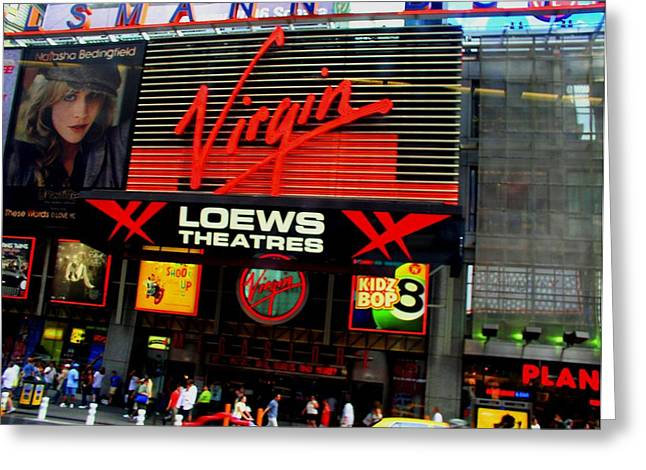 Theatre Billboard Greeting Cards - Times Square Virgin Greeting Card by Cleaster Cotton