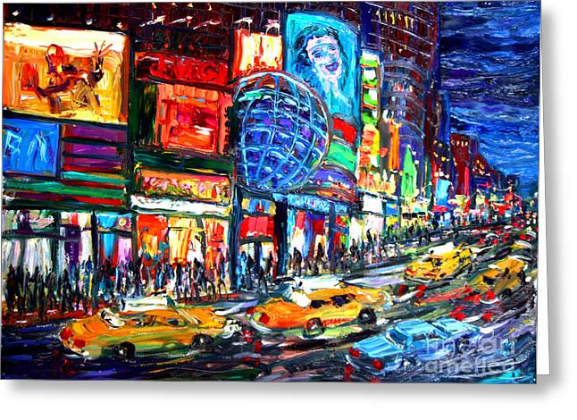 Midtown Paintings Greeting Cards - Times Square With Globe Greeting Card by Arthur Robins