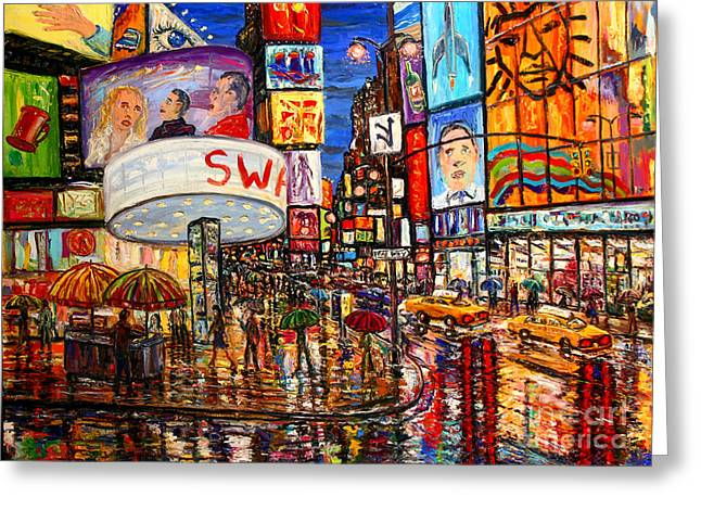 Times Square With Lion King Greeting Card by Arthur Robins