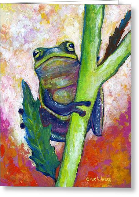 Tree Frog Greeting Cards - Timid Tree Frog Greeting Card by Eve  Wheeler