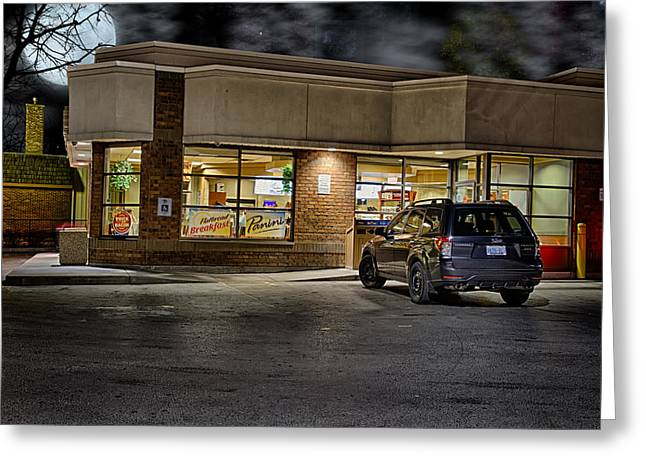 Tim Hortons Greeting Cards - Timmys At Night Greeting Card by John Herzog