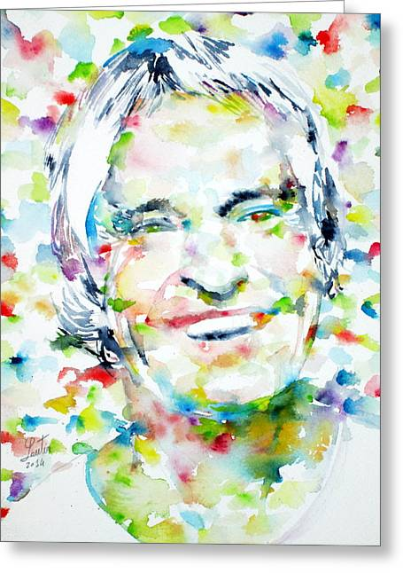 Timothy Greeting Cards - TIMOTHY LEARY - watercolor portrait Greeting Card by Fabrizio Cassetta