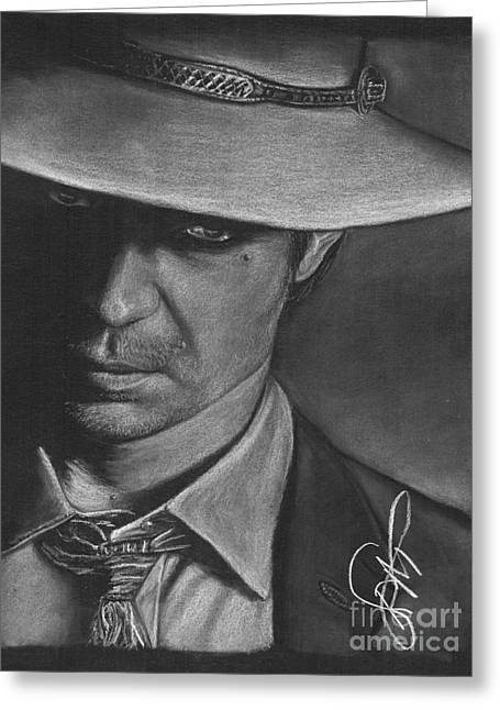 Timothy Greeting Cards - Timothy Olyphant 2 Greeting Card by Rosalinda Markle