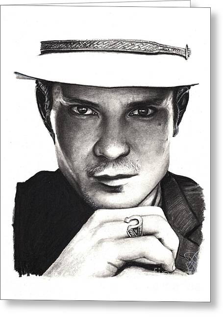 Charcoal Portrait Greeting Cards - Timothy Olyphant Greeting Card by Rosalinda Markle