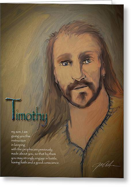 Bible Mixed Media Greeting Cards - Timothy Greeting Card by Ron Cantrell