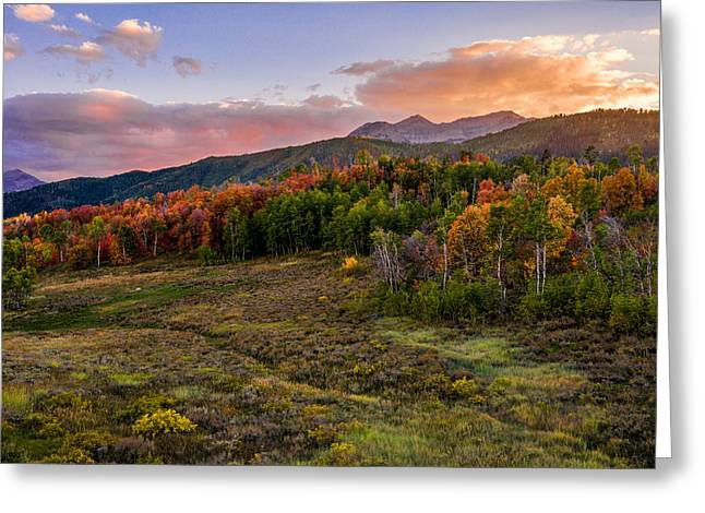 Evening Lights Greeting Cards - Timp Fall Glow Greeting Card by Chad Dutson