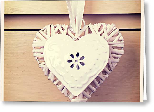 Chic Greeting Cards - Tin  and wicker heart retro Greeting Card by Jane Rix