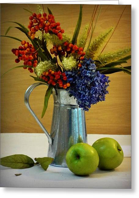 Silver Pitcher Greeting Cards - Tin Bouquet and Green Apples Greeting Card by Deborah  Crew-Johnson