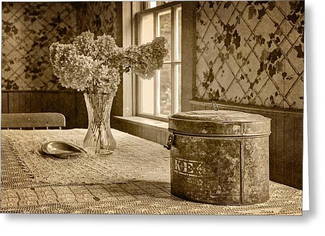 Dried Hydrangeas Greeting Cards - Tin Box and Dried Hydrangea -Vintage Interior - Sepia Greeting Card by Nikolyn McDonald