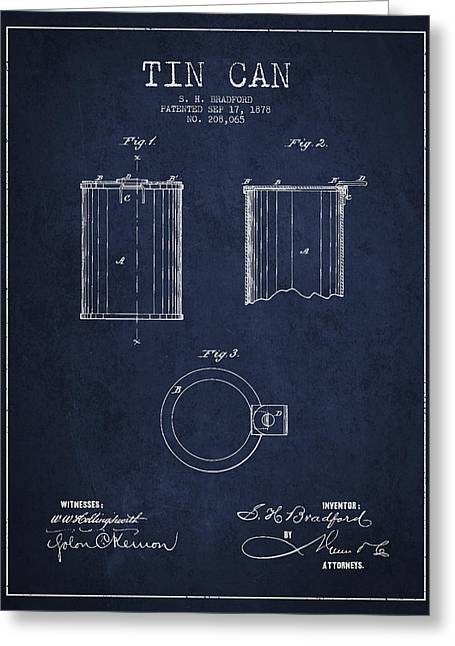 Pop Can Greeting Cards - Tin Can Patent Drawing from 1878 Greeting Card by Aged Pixel