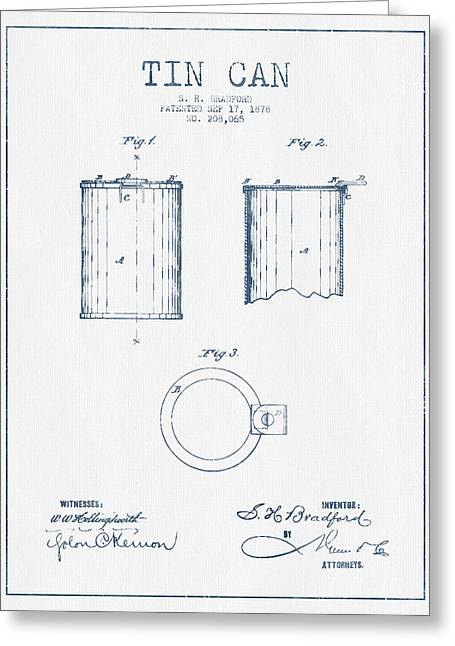 Pop Can Greeting Cards - Tin Can Patent Drawing from 1878 - Blue Ink Greeting Card by Aged Pixel