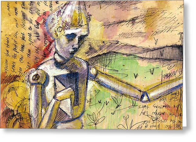 Rust Drawings Greeting Cards - Tin Man - Wizard of OZ  Greeting Card by Chris Bradley