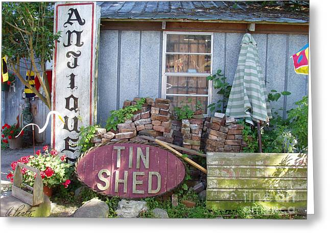 Shed Pyrography Greeting Cards - Tin Shed Apalachicola Florida Greeting Card by Audrey Peaty