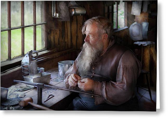 Toy Shop Greeting Cards - Tin Smith - Making toys for Children Greeting Card by Mike Savad