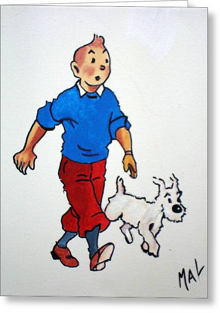 Snowie Greeting Cards - Tin Tin and Snowie 2 Greeting Card by Marlyn Anderson