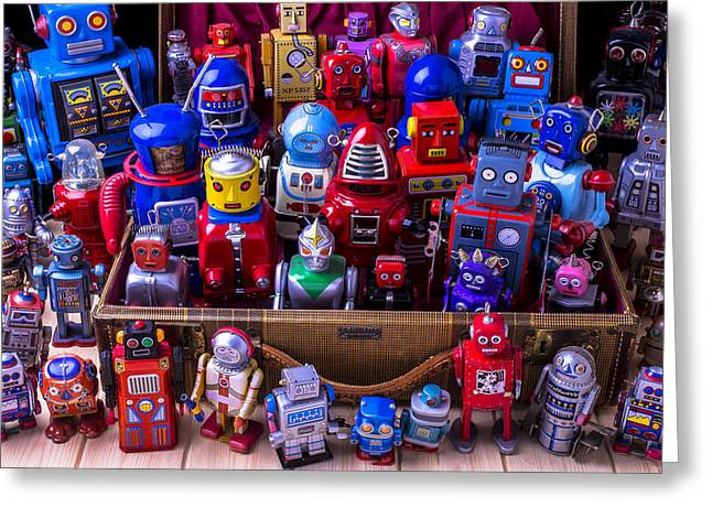 Robotic Life Greeting Cards - Tin Toy Robots Greeting Card by Garry Gay
