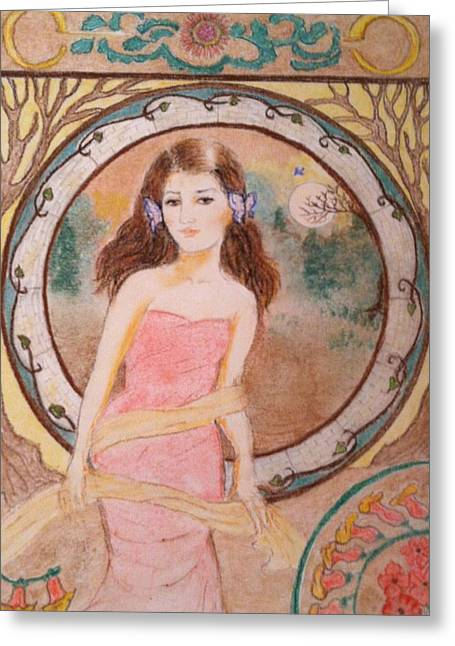 I Pastels Greeting Cards - Tina in Mucha Style Greeting Card by Jami Cirotti