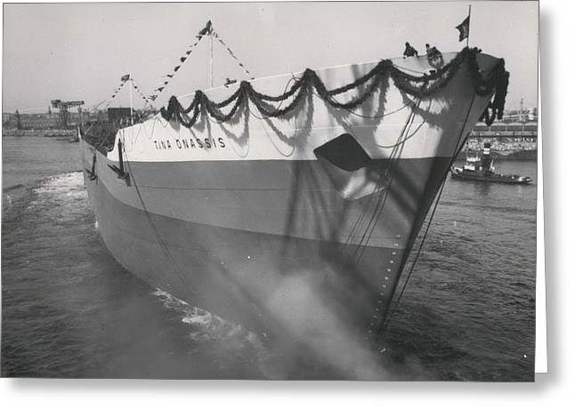 Retro Photography Greeting Cards - TINA ONASSIS the world's largest tanker launched Greeting Card by Retro Images Archive