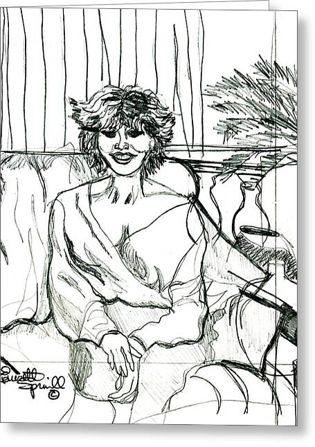 Famous African Americans Drawings Greeting Cards - Tina Turner - Drawing Greeting Card by Everett Spruill
