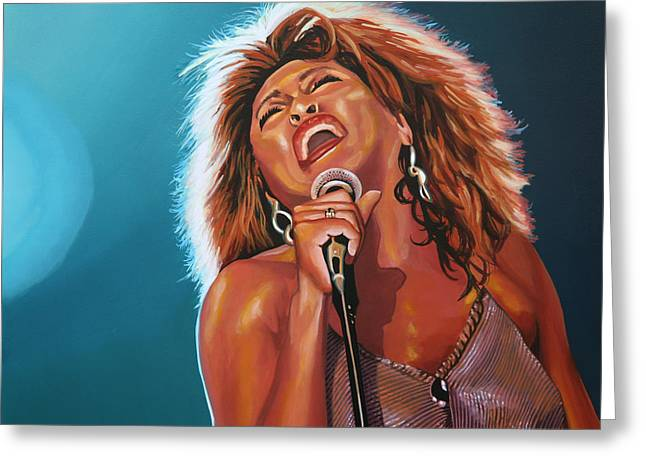 Singer Paintings Greeting Cards - Tina Turner 3 Greeting Card by Paul  Meijering