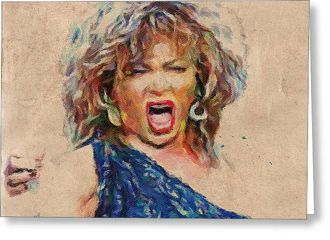 Tina Turner Greeting Cards - Tina Turner Portrait You are the best 1 Greeting Card by Yury Malkov