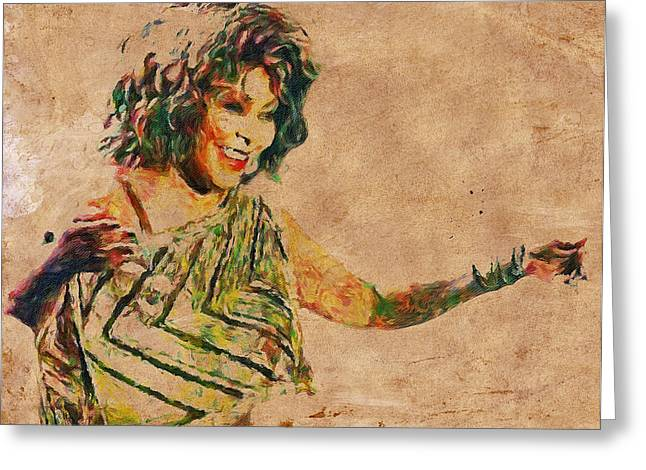 Live Art Greeting Cards - Tina Turner Portrait You are the best 2 Greeting Card by Yury Malkov
