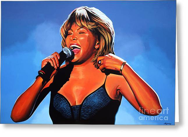 James Paintings Greeting Cards - Tina Turner Queen of Rock Greeting Card by Paul  Meijering