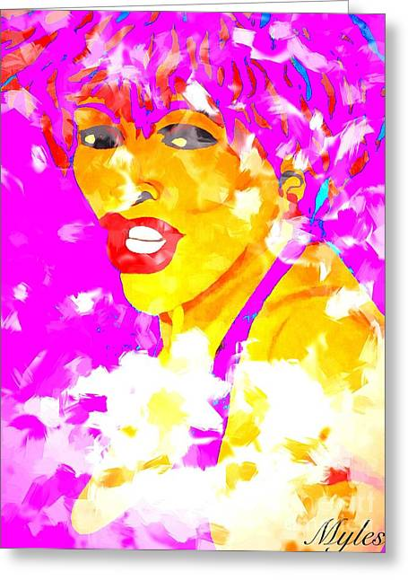 Tina Turner Greeting Cards - Tina Turner Soft and Free 2 Saundra Myles Greeting Card by Saundra Myles