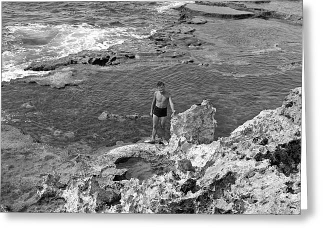 World War 2 Airmen Greeting Cards - Tinian Tidal Pool Greeting Card by Brady Barrineau