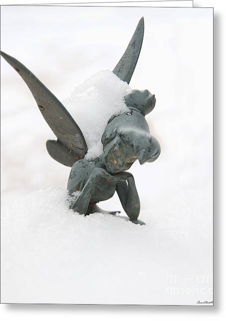 Tink In The Snow Greeting Card by Susan Cliett