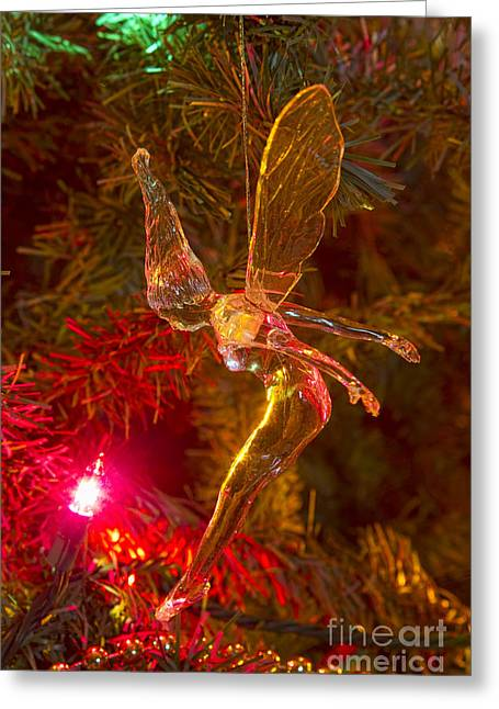 Tinker Bell Greeting Cards - Tinker Bell Christmas Tree Landing Greeting Card by James BO  Insogna