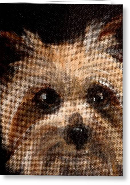 Dog Close-up Paintings Greeting Cards - Tinker Greeting Card by Carol Russell