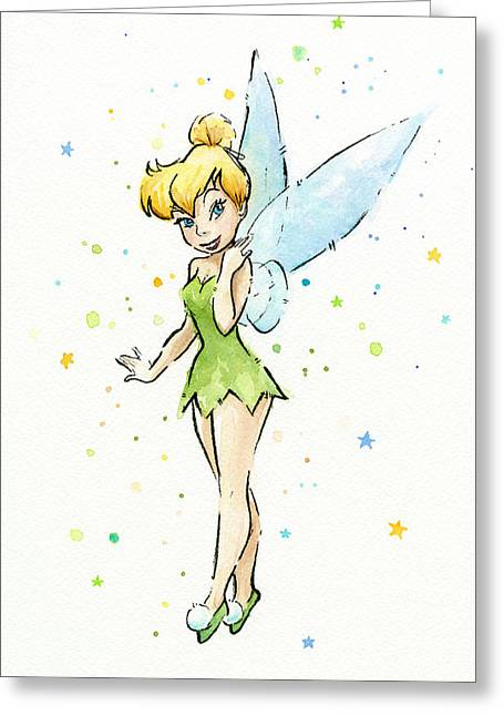 Kid Paintings Greeting Cards - Tinker Bell Greeting Card by Olga Shvartsur