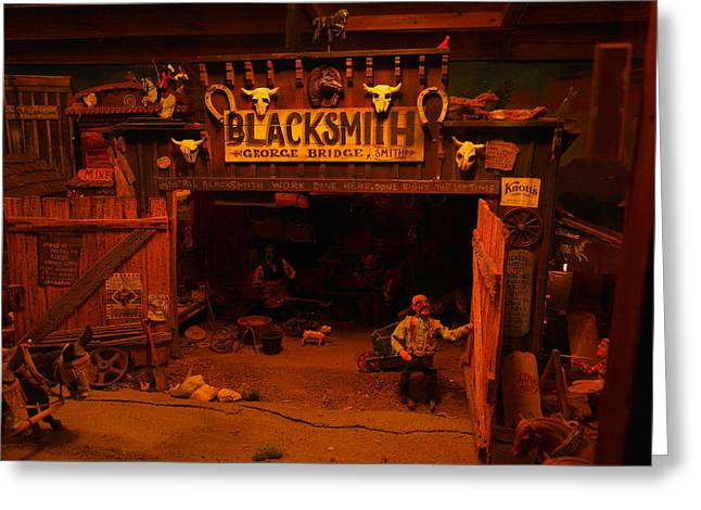 Wood Carving Photographs Greeting Cards - Tinkertown Blacksmith Shop Greeting Card by Jeff  Swan