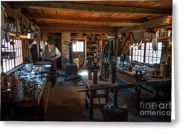 Tinsmith Shop - Old Sturbridge Village Greeting Card by Scott Thorp