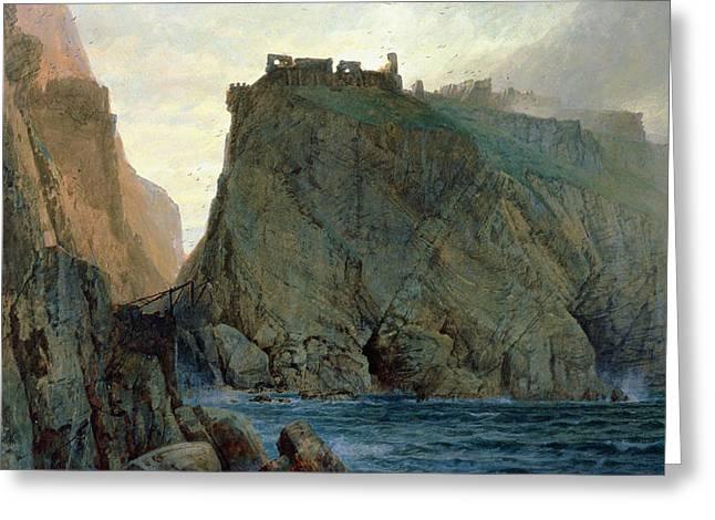 Tintagel On The Cornish Coast Greeting Card by W T Richards