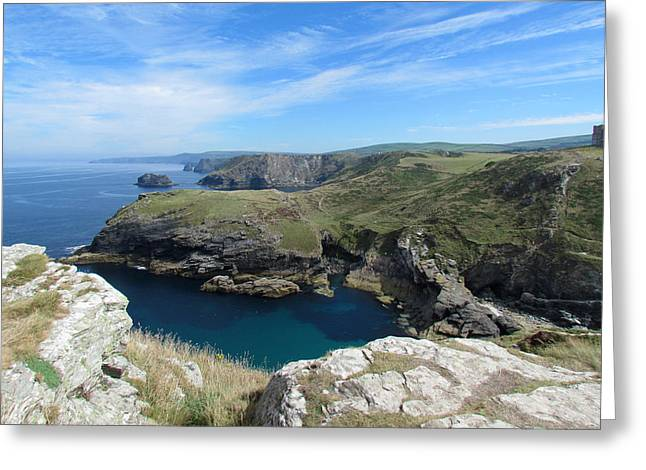 Tintagel Greeting Cards - Tintagel View Greeting Card by Tracy Kelly