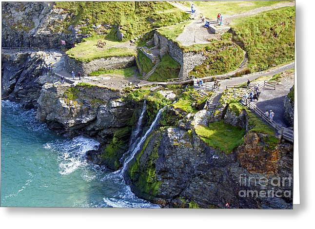 Uther Pendragon Greeting Cards - Tintagel waterfalls Greeting Card by Rod Jones